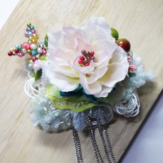 * Handmade flowers fog Spring Series - pale pink camellia buckle pin dual headband jewelry +