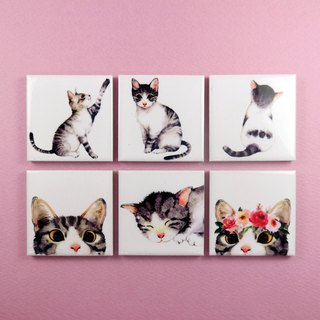 Cute Magnet holder Cat Fridge Magnets (Set of 6)