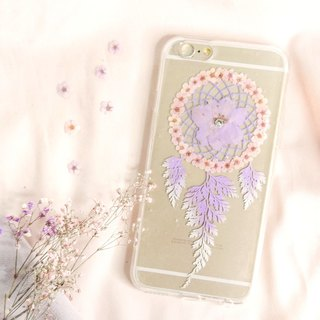 Pressed Flower Dreamcatcher Phone Case | Pinkish Purple & Pink