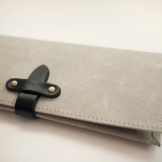 Long washed kraft paper clip / wallet / wallet / purse. gray