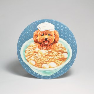 Water-absorbing ceramic coaster - VIP dog soaked peanut dumplings (send stickers) (can be purchased custom text)
