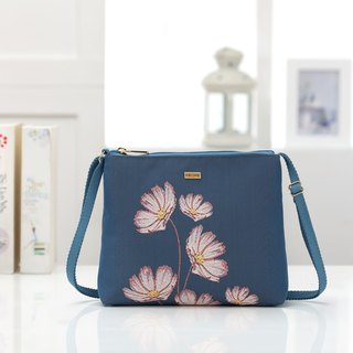 Silk flower woven, elegant carry bag, confused purple blue