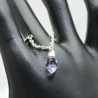 New Silver & Glass Crystal cut chain ring