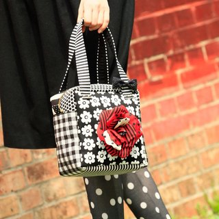 cube handbag Femme Fatale with red corsage Monochrome flowers dots borders