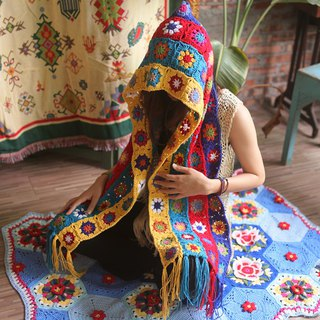 Pastoral style travel bohemian scarf handmade tassel wool national wind hat scarf