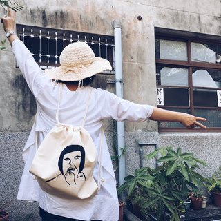 Hand-printed silk back canvas bag - biting nails