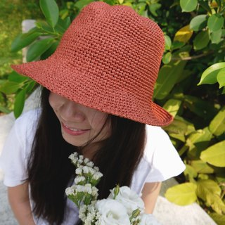 Mama の hand made hat - Summer Rafael straw hat - retro square hat / vintage orange / Mother's Day / picnic / outing