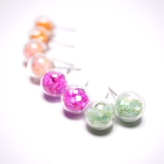 A Handmade glass ball earrings shells sequins