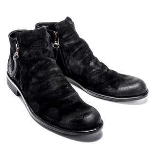 ARGIS 雅痞双拉练 models leather boots #12112麂皮黑-Japanese handmade