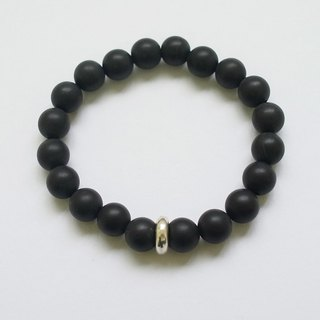☽ Qi Xi hand for ☽ [07297] 8mm matte black onyx +925 artificial silver stopper beads