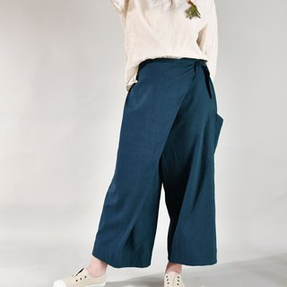Autumn and winter straps nine pants blue green