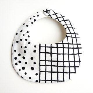 Six-layer double sided bib - Nordic white - dot x plaid