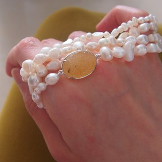 Free postage : Nature Agate Raw Surface with irregular natural pearl, necklace & bracelet | Multi Use