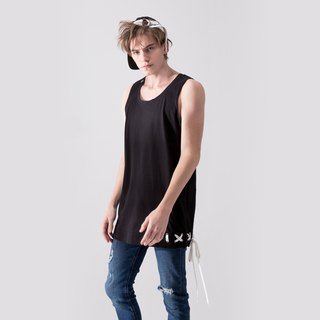 UNISEX LACE UP HEM TANK TOP / Black