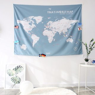 Personalized World Map, Pin Map Travel Map-Bluish Gray-Wall Decor (Fabric)