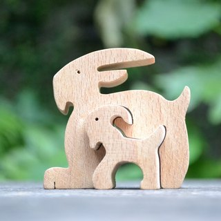 Bearded goat ★ small handmade wood