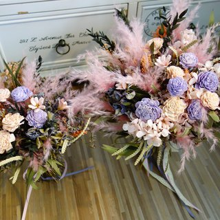 Wedding floral series ~ purple and pink orange jungle bouquet / beast pie / boutonniere / bridesmaid bouquet