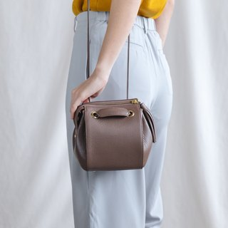 CUDDLE - MINIMAL WOMEN SOFT LEATHER BAG -PINK GREY BROWN/MAUVE