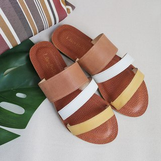 [Cool Summer Cream Cream] Tricolor Sheepskin Sandals and Slippers - Yellow White Brown