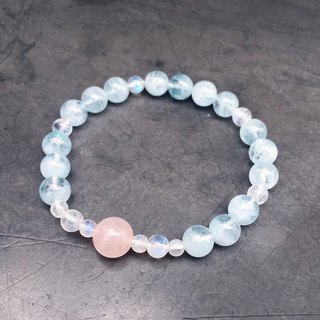 (Ofelia.) Natural Stone Series Natural Sea Sapphire x Moonstone x Powder Crystal Bracelet (J109.Elisa) Crystal