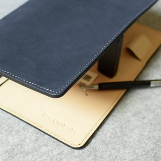 YOURS leather loose-leaf notebook (no buckle) A5 (20 holes) + L clip blue suede + primary leather