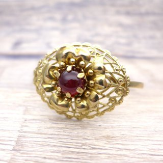 Brass and glass, Flower Bangle, Deep red, Vintage, Antique