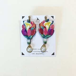 humming | embroidery earrings - tulip bouquet \ can be changed ear clip