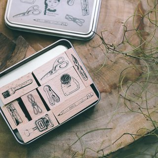 Wooden stamp set (stationery 9 into)