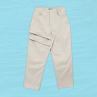 High-waist cut trousers - light apricot