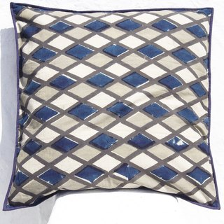 Christmas gift limited handmade woodcut printing pillowcase / cotton pillowcase / printing pillowcase / hand-printed pillowcase - indigo blue dye diamond geometry