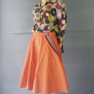 Design hand made - pink orange line five-point skirt