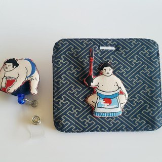Mini Bear Handmade Sumo Wrestler Card Holder/Card Set + Telescopic Pull Ring (Steel Wire) Exclusive