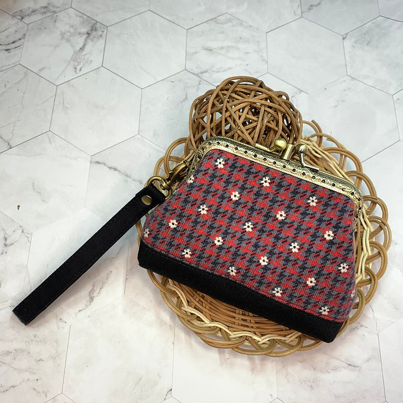 Corduroy/Red and Grey Plaid Small Flower Parent-child Gold Bag/Wallet/Change Purse/Birthday Christmas Gift