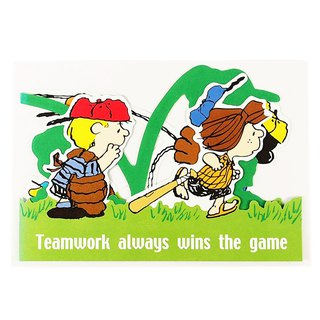 Snoopy everyone playing baseball [Hallmark-Peanuts - Snoopy - Stereo Card]