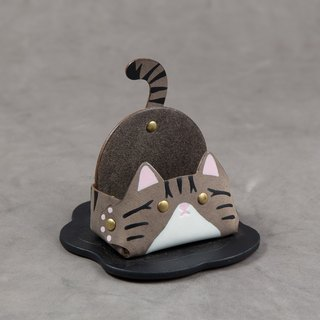Animal series - business card holder / mobile phone holder (narrow version - gray tabby cat)