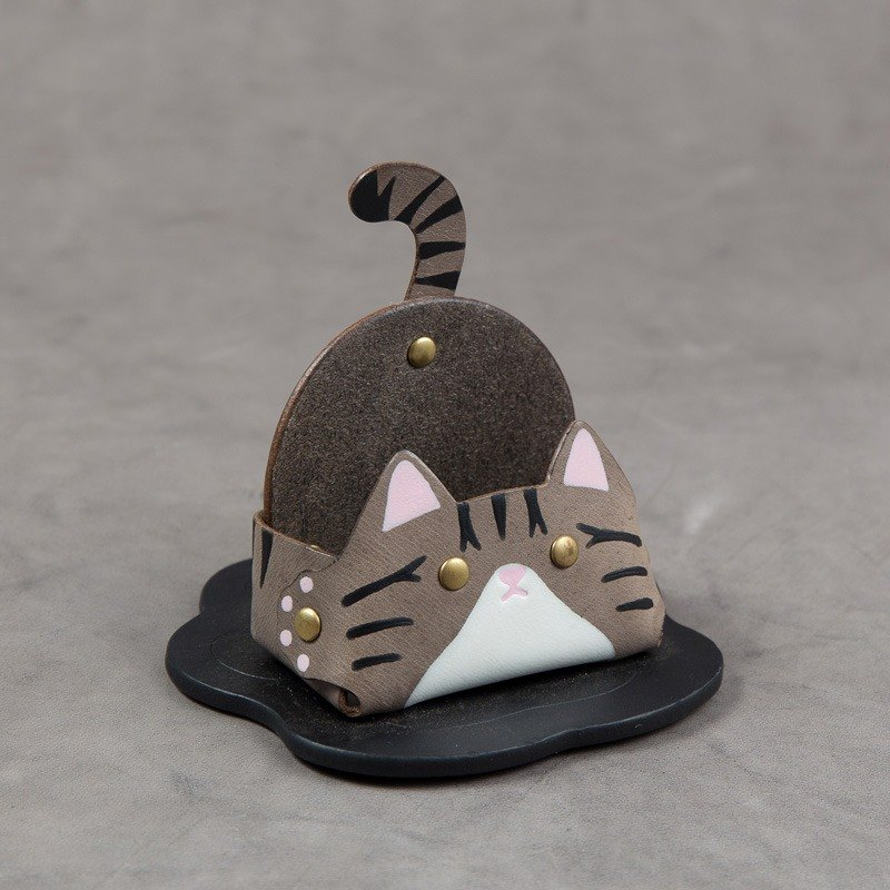 Business card holder mobile phone holder (narrow-grey tabby cat)