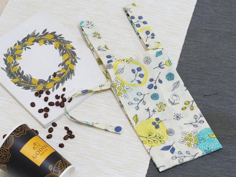 【Gi LAI】環保飲料/食物提袋-米色花圈