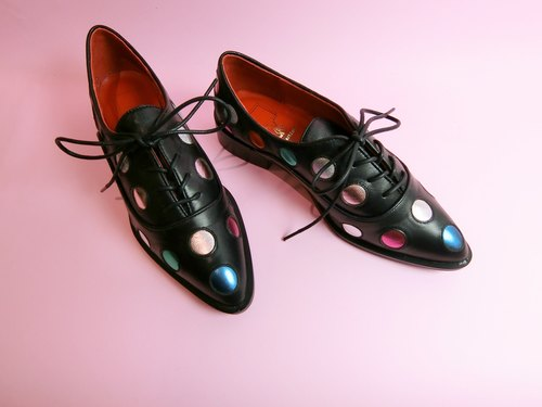 Pointed strap gentleman shoes | space rover Adventure No. psychedelic black || # 8077