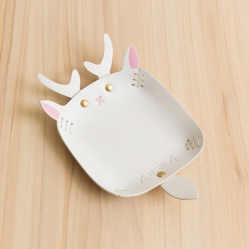 Animal Series - Hand painted leather small cap / jewelry storage / (white deer)
