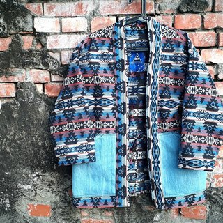 AMIN'S SHINY WORLD handmade KIMONO Nordic ethnic jacquard washed blouse coat jacket