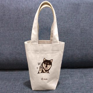黑柴-Hi---Taiwan-made cotton linen-Wen Chai Shihua-Environmental-Beverage bag-Flies Planet