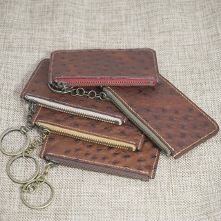 Guillaume ostrich zipper purse