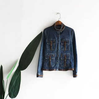 Oriental Chinese small stand collar slumping girl antique cotton denim shirt jacket coat vintage