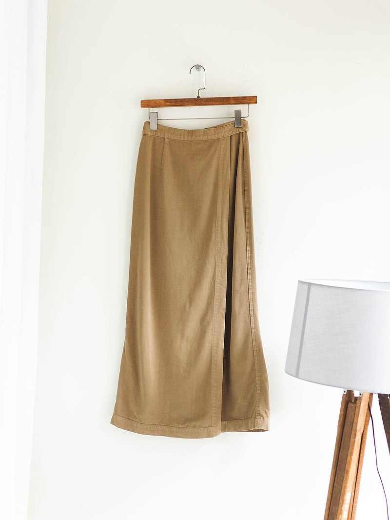 dress • khaki cool feeling spring weekend love time A-line skirt concealed button long skirt skirt'vintage