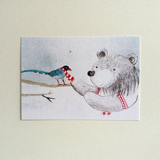 Formosa Blue Magpie Meet the Taiwan Black Bear Postcard