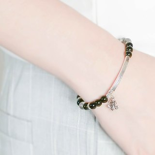 Personality simple gold stone natural stone beaded silver bracelet │ black gray 玥unicorn gold stone