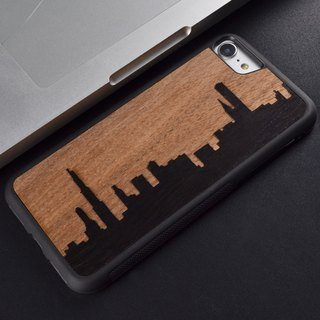 sonrmum iPhone 6 S splicing skyline phone shell Apple 7 PLUS wood Samsung S7 edge S8 plus