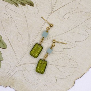 tea green handmade glass Tianhe stone earrings can be changed clip