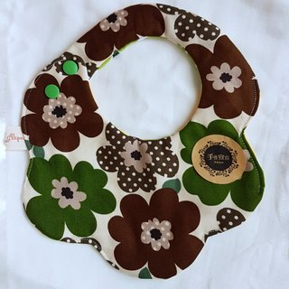 Nordic flowers (green coffee) - cotton 100% cotton double-sided egg bib. saliva towel