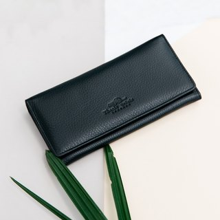 POPPY - WOMEN LONG LEATHER WALLET-BLACK